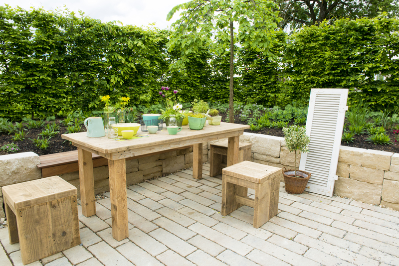 patio paved with wooden table